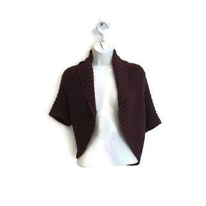 Trina Turk Ribbed Sweater Shrug Brown Cotton